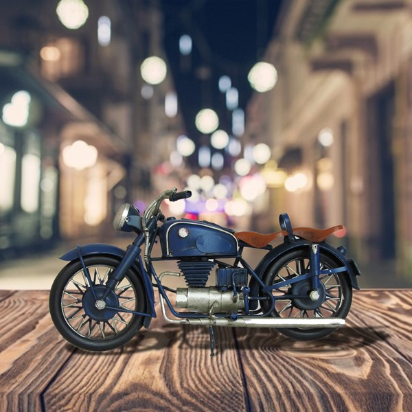 Vintage Style Iron Motorcycle Decoration in Blue