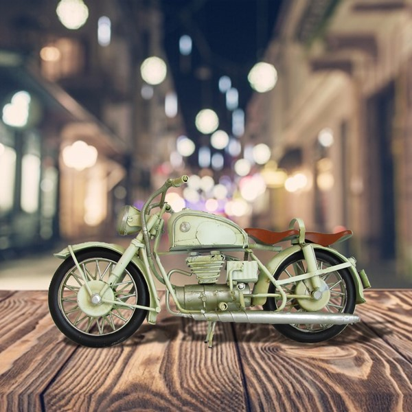 Vintage Style Iron Motorcycle Decoration in White