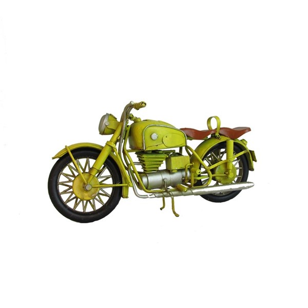 Vintage Style Iron Motorcycle Decoration in Yellow