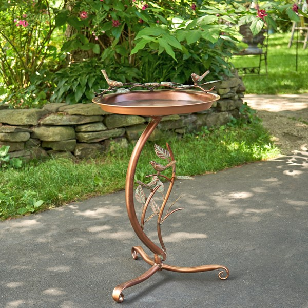 Shallow Copper Finished Birdbath on Branch Stand