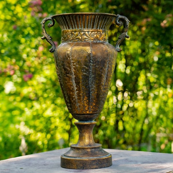 Tall Iron Urn in Antique Gold