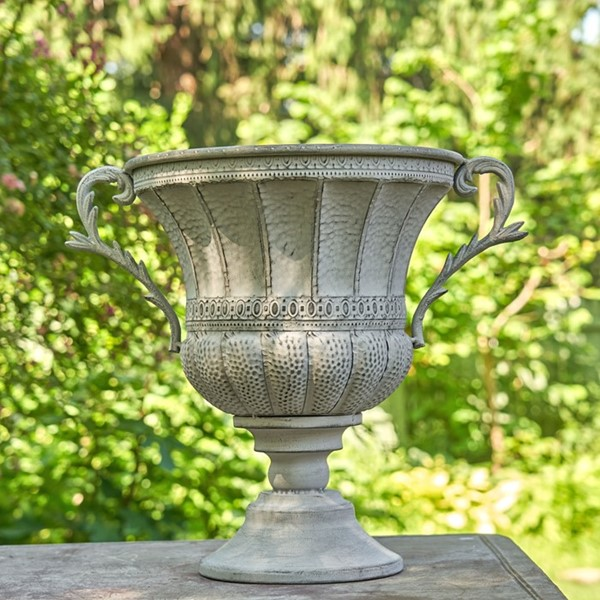 Round Iron Urn with Ornate Handles in Antique Grey