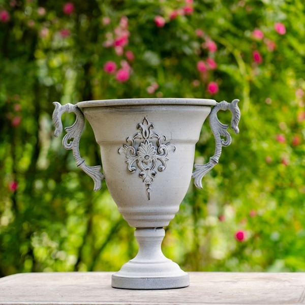 Chalice Shaped Iron Urn in Antique Grey