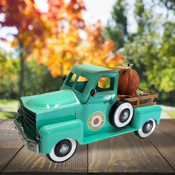 Country Style Metal Truck with Pumpkins in Antique Teal