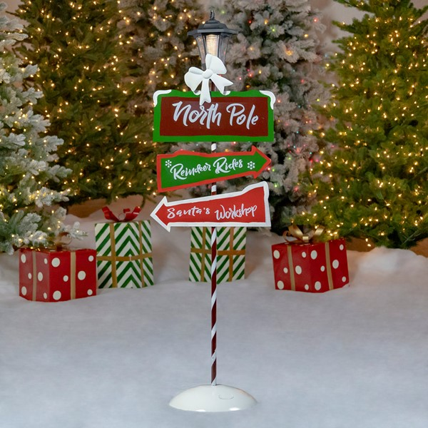 "Standing ""North Pole"" Solar Lantern with Crossing Signs"