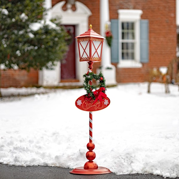 Standing Iron Christmas Lantern with Round Base