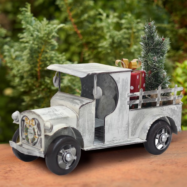 1920's Style Galvanized Pickup Truck with LED Christmas Tree & Gift Boxes
