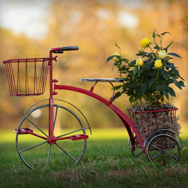 Small Iron Tricycle Planter in Red