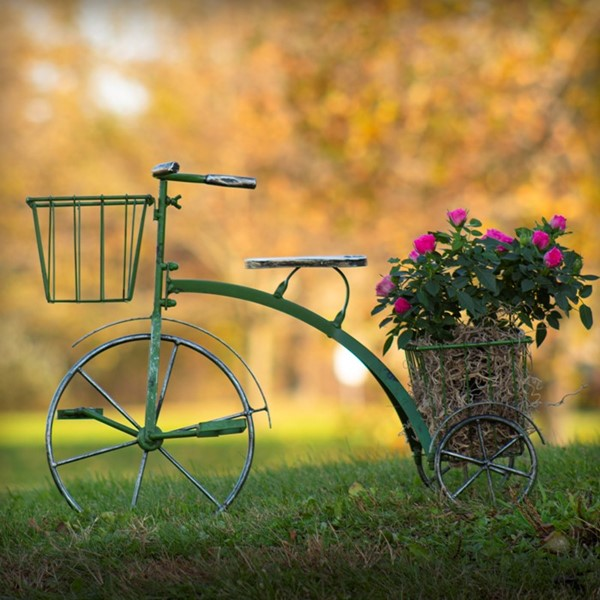 Small Iron Tricycle Planter in Green