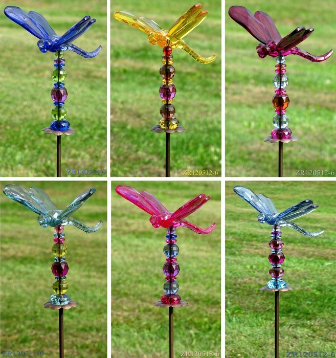 Tractor Garden Stakes : Quot garden stake w acrylic dragonfly
