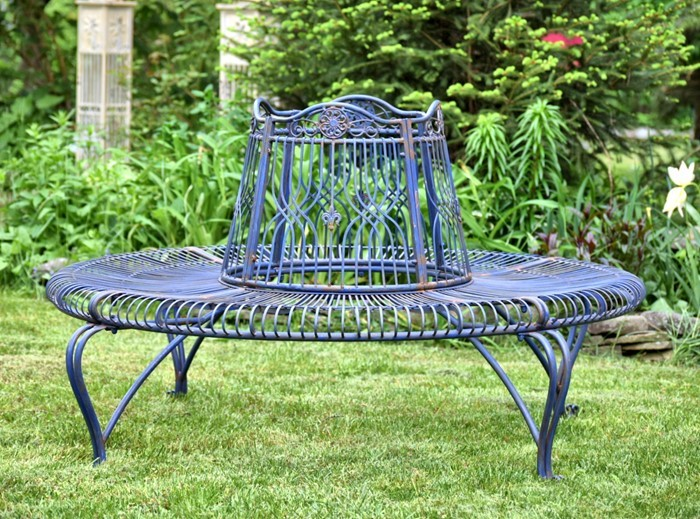 Iron Round Tree Bench Paris 1968 Antique Cobalt Blue Finish on Furniture Made From Tree Trunks