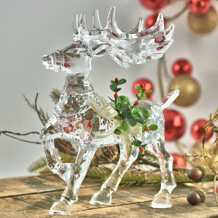 Large Clear Acrylic Reindeer With Mistletoe Decoration