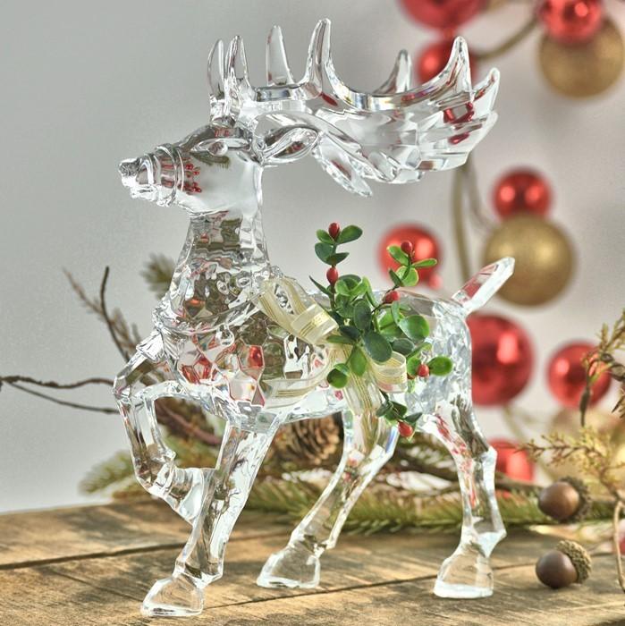 Large Clear Acrylic Reindeer With Mistletoe Decoration